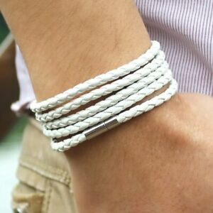 """Leather Bracelet Jewelry Stainless Steel Magnetic Men Wrap Long 90cm 35.4"""" Chain"""