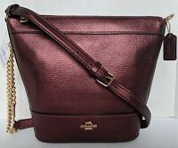 Coach Metallic Leather Paxton Duffle Crossbody Shoulder Bag Small New Wine