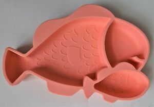 Hexatal Fish Non-Slip Silicone Suction Plate Bowl for Babies Toddlers Kid Coral