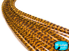 10 Pieces - GOLD Thin Long Grizzly Rooster Hair Extension Feathers
