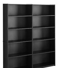 Bookcase WIDE 5 Shelf Set of 2 Pcs Adjustable Home Office Bookshelf, BLACK
