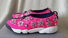 NIB Christian Dior CD Fusion Sneaker Embroidered Flower Shoe Pink 37.5 7 7.5