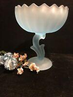 Vintage Blue Satin Glass  Pedestal Lotus Flower Candy Dish