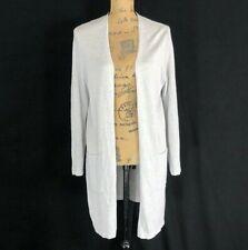 J Jill M P Linen Bl Cardigan Gray Silver Loose Knit Long Open Pocket Side Slit
