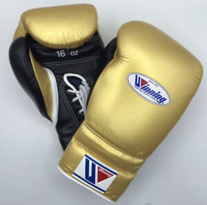 Winning Boxing gloves Lace up 16oz Gold x Black from JAPAN FedEx tracking NEW