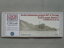 OKB Grigorov 1/700 Resin Soviet Sub Project 667 A Navaga, NATO Name Yankee I