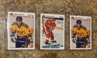(3) Nicklas Lidstrom 1991-92 Upper Deck French  Rookie card lot RC Young Guns