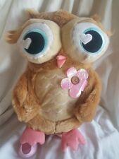 "Plush Owl Backpack purse pink flower zips 14"""