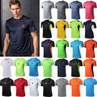 Mens Summer Gym Sport Running T Shirt Fitness Muscle Quick Dry Tops Tee M-4XL