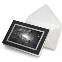 Greetings Card (Black) BW - Space Planets Saturn Sci-Fi  #38312