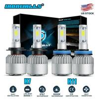 4x Combo H7 H11 Led Headlight Bulbs Kit 4000W 600000LM High Low Beam 6000K White