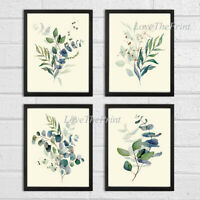Eucalyptus Print Set of 4 Botanical Blue Green Home Wall Art Decor Unframed CMR