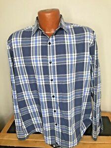 Men's UnTUCKIT L/S Button Front Shirt Large (L) Wrinkle Free BLUE/WHITE PLAID