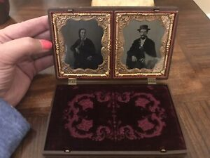 Amazing Thermoplastic Gutta Percha Case Daguerreotype Double 6 1/4 !