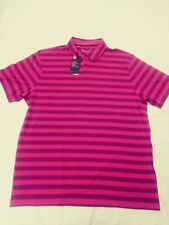 Under Armour Charged Cotton Stripe Golf Polo Shirt Men's Sz Xl Pink 1323455