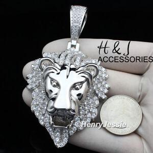 MEN 14K WHITE GOLD FINISH BLING 3D SILVER LION KING FACE PENDANT*ABP5