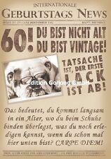 Glückwunschkarte zum 60.Geburtstag-s-News*Hund*Zeitung Grußkarte mit Humor