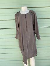 NEW ZARA WOMAN Brown lyocell Mini Shirt Dress Slits Size S MISSING BELT #C1325