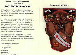 OA Wauna La-Mon 'Tay Lodge 442 2002 NOAC Patch Set RED Bdr. Cascade Pacific [MX-