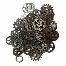 10 Clock Gears Cogs Parts Black Gunmetal Metal Steampunk Supplies Assorted Lot