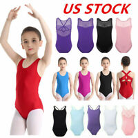 US Kids Girls Gymnastics Leotard Dress Ballet Dance Tutu Skirt Jumpsuit Costume