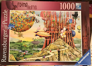 "Ravensburger ""Flying Home"" 1000 Pc Puzzle No. 196524 Fantasy Aviation Balloons"