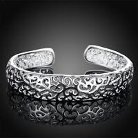 Elegant 925 Sterling Silver Bezel Hollow Cuff Bangle Adjustable Bracelet Jewelry