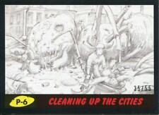 Mars Attacks The Revenge Black [55] Pencil Art Base Card P-6 Cleaning up the Ci