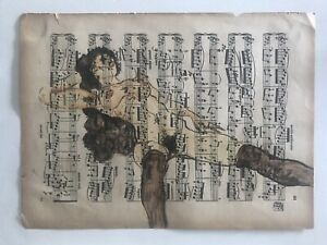 Egon Schiele Authentic Signed Painting, Nude Woman, on Sheet Music, Dated 1914.