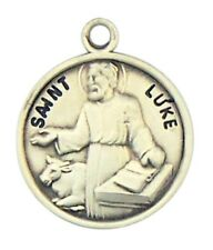 Patron Saint St Luke 7/8 Inch Sterling Silver Medal on Rhodium Plated Chain