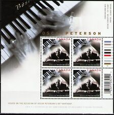 Canada Stamps - Souvenir Sheet of 4 - Oscar Peterson #2118a - MNH