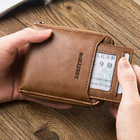 Men Soft Leather Coin Zip Pocket Business Wallet ID Credit Card Holder Purse  NT
