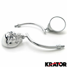 New Adjustable Chrome Skull Skeleton Side Mirrors with M8 M10 Bolts and adapters