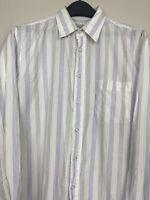 Christian Dior Men's 16.5 35 (L) Cotton Striped Long Sleeve Button Up Shirt Blue