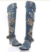 Stylish Womens Zip Blue Denim Stilettos Heel Knee High New Boots Shoes plus size