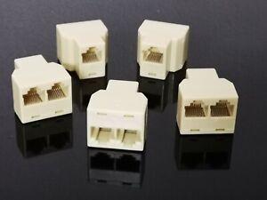 5x RJ45 8P8C Keystone 1 Female to 2 Female Telephone Wire Cable Splitter
