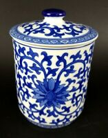 Cobalt Blue White Scrollwork Porcelain Canister Small Ginger Jar w/ Lid Willow