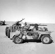 WWII B&W Photo British SAS LRDG Jeep Tunisia Desert 1943  WW2 / 1095