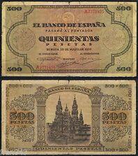 500 PESETAS 1938 BURGOS Serie A 2731455  P.114a  MBC-  /  VF-