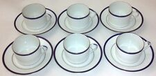 6 Chastagne Limoges France Coffee / Tea Cup & Saucer Sets With Gold Trim
