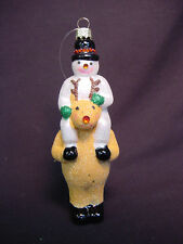 "NOS 5"" Blown Glass Snowman Frosty Reindeer Xmas Tree Ornament Faux Gem Glitter"