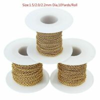10Yards/Roll Gold Plated Stainless Steel 2mm Link Chain For Necklace DIY Making