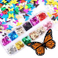 12 Colors Nail Art Flakes Glitter Sequins Paillette Butterfly 3D Tips Decoration