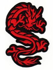 an91 Drache Rot Asien Tattoo Dragon Aufnäher Bügelbild Applikation 9,0 x 6,5 cm