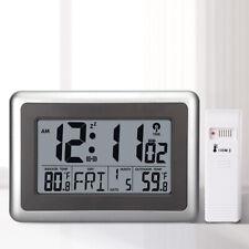 Digital LCD Display Automatic Wall Desk Clocks Indoor Outdoor Temperature Meter
