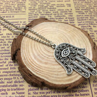 Good Luck Protection Hamsa Symbol Fatima Hand Evil Eye Pendant Chain Necklace MR