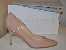 NIB MANOLO BLAHNIK LISA Flesh Nude Patent Leather Almond Pump Heel Shoes 38.5