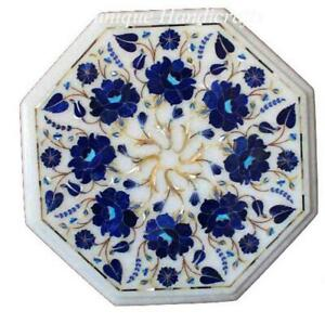 Marble Side Coffee Center Table Top  Blue Lapis Floarl Stone Pietra Dura  Art