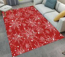 Red Background Xmas Big Snowflakes Area Rugs Soft Bedroom Living Room Floor Mat
