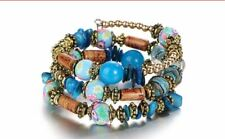 Blue Flower Painted Bead & Natural Stone Multi layer wrap Around Bracelet